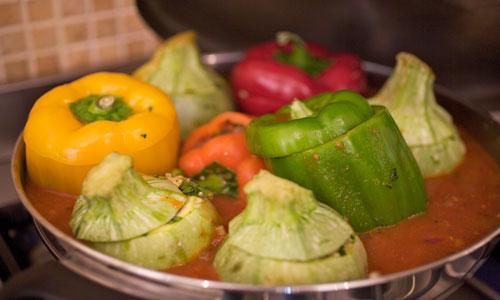 ירקות ממולאים בדגנים