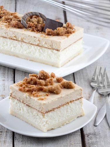 עוגת גבינה,שוקולד לבן,קרמל וקראמבל
